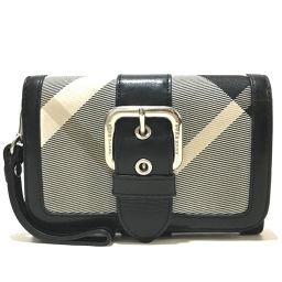 BURBERRY バーバリー   ZB407 短財布 チェック柄 ストラップ付き 二つ折り財布(小銭入れあり) ナイロン×レザー ブラック×ホワイト系 レディース