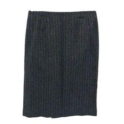 バーバリー ウールヘリンボーンタイトスカート/FAX65-813/40/グレー×ブラック/BURBERRY 翌日配送可■211734
