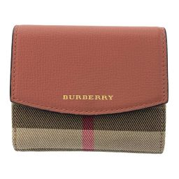 Burberry Check / Folded Wallet W Hock Compact Wallet Canvas x Leather / Pink / Beige / BURBERRY Next Day Delivery Available / b200316 ■ 334909