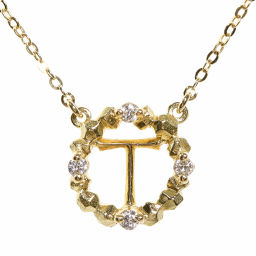 """ARK """"T"""" initial motif 4P ・ Circle ・ Diamond Necklace ・ Pendant / K18YG / 750-1.4g / 0.03ct / AHKAH next day delivery available / h191122 317064"""