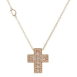 Damiani Belle epoch / Belle? Poque cross motif 50P ・ Diamond necklace / K18PG / 750-7.9g / 0.38ct / DAMIANI / h200318 ■ 333205