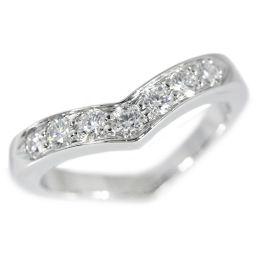 ティファニー 7P・ダイヤモンド・Vバンドリング・指輪・ラウンド・ブリリアント/Pt950-5.4g/0.36ct/8.5号/#48/TIFFANY & Co. ■206805