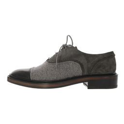 Super Lanvin Lace-up shoes Different materials Suede × Leather × Wool / 37 / Gray / Black / LANVIN Next day delivery available / b 190528 ■ 292897