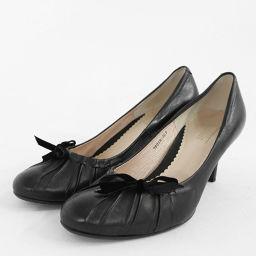 プールサイド リボンモチーフ プラットフォーム・パンプス靴/22.0/ブラック/POOL SIDE 翌日配送可■205240