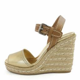 プラダ ウェッジソール・ストラップサンダル靴/36(23.0cm相当)/ゴールド×ブラウン/PRADA 翌日配送可■218410