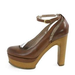 クロエ ラウンドトゥ・レザー ストラップ付パンプス靴/36/ブラウン/Chloe 翌日配送可/b181203■224107
