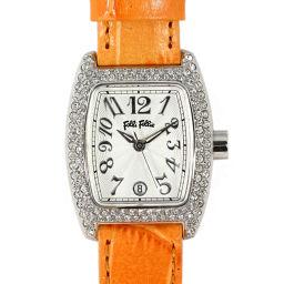 フォリフォリ ラインストーンクォーツ腕時計/S922ZI/オレンジ×ホワイト/FOLLI FOLLIE 翌日配送可■204684