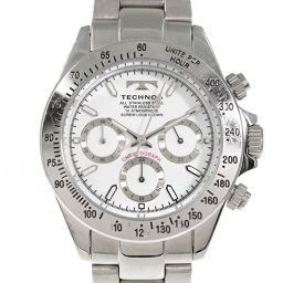 Technos Chronograph Watch Round Form Quartz Watch / SS / stainless steal-135.6g / TSM401 / TECHNOS next day delivery possible / h190515 ■ 284989