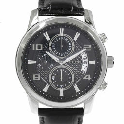 Super Guess Quartz Watch / SS / stainless steal-76.0g / W0076G1 / Black × Silver color / GUESS Next day delivery available / h190611 ■ 293910
