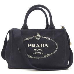 PRADA プラダ 1BG439 キャンバス ネロ レディース トートバッグ【中古】Aランク