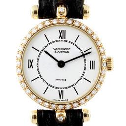 Van Cleef & Arpels ヴァンクリーフ&アーペル 18901B1 750イエローゴールド×レザー ホワイト 文字盤 レディース 腕時計【中古】ABランク