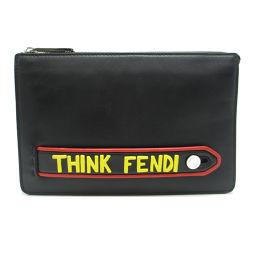 FENDI フェンディ 7VA350 レザー×ラバー ブラック ユニセックス クラッチバッグ【中古】ABランク
