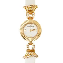 Boucheron ブシュロン WA012504 750ピンクゴールド×レザー シェル 文字盤 レディース 腕時計【中古】Aランク
