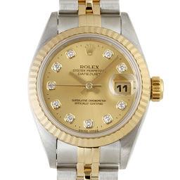 ROLEX ロレックス ステンレススチール×イエローゴールド ダイヤモンド シャンパン 文字盤 レディース 腕時計【中古】ABランク