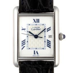 CARTIER カルティエ W1014154 ステンレススチール×シルバー925×レザー ホワイト 文字盤 メンズ 腕時計【中古】Aランク