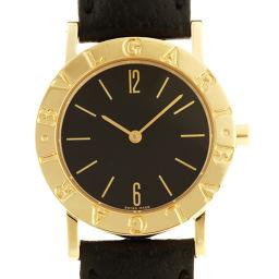 BVLGARI ブルガリ BB30GL 750イエローゴールド×レザー ブラック アラビアン 文字盤 ボーイズ 腕時計【中古】ABランク