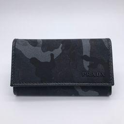 PRADA プラダ 2PG222 ナイロン×レザー ブラック メンズ キーケース【中古】SAランク