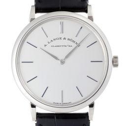 A.LANGE&SOHNE ランゲ&ゾーネ 201.027 サクソニア フラッハ 750ホワイトゴールド×レザー メンズ 腕時計 DH48403【中古】ABランク