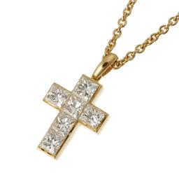 CARTIER カルティエ クロス ダイヤモンド ペンダント 750イエローゴールド×ダイヤモンド レディース ネックレス DH49378【中古】Aランク
