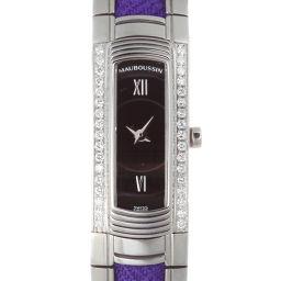 MAUBOUSSIN モーブッサン R.68600 フーガ サイド ダイヤモンド ステンレススチール レディース 腕時計 DH49619【中古】ABランク
