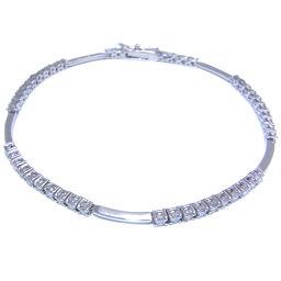 De Beers LINE 1.50ct Diamond 18k White Gold x Diamond Women's Bracelet DH50259 [pre-owned] AB rank
