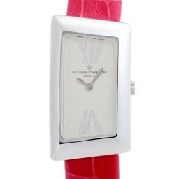 VACHERON CONSTANTIN Vacheron Constantin 25015 1972 Small 750 White Gold × Leather Ladies Watch DH51615 [Pre] A rank