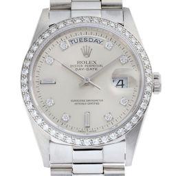 ROLEX ロレックス 18346A デイデイト W番(94年製)10Pダイヤモンド Pt950プラチナ メンズ 腕時計 DH51913【中古】Aランク