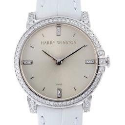 HARRY WINSTON Harry Winston MIDQHM32WW002 Midnight Bezel Diamond 750 White Gold × Leather Ladies Watch DH52315 [pre-owned] A rank
