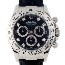ROLEX ロレックス 116519G デイトナ 8Pダイヤモンド P番 2000年製 750ホワイトゴールド×レザー メンズ 腕時計 DH53289【中古】Aランク