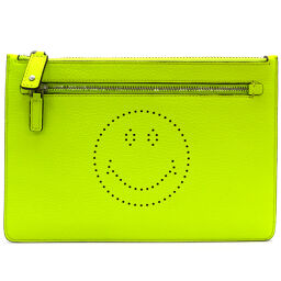 Anya Hindmarch Anyah Hind March 942980 Double Zip Pouch Smiley Leather Ladies Clutch Bag DH54637 [Used] S Rank