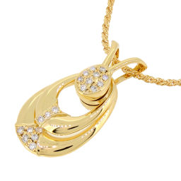 WALTHAM 750YG Diamond 750 Yellow Gold Ladies Necklace DH55620 [Used] A rank