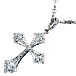 Loree Rodkin Laurie Rodkin Fancy Gothic Cross Diamond Pendant Cross Chain K18 White Gold Ladies Men Necklace DH55990 [Used] A Rank