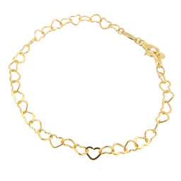 STAR JEWELRY Star Jewelry Heart Chain K18 Yellow Gold Ladies Bracelet DH56175 [Used] A Rank