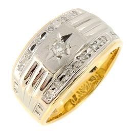 Non Brand ノンブランド K18/Pt900 ダイヤモンド 0.24ct K18ゴールド×Pt900プラチナ 25号 メンズ リング・指輪 DH57545【中古】Aランク