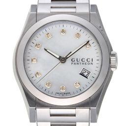 GUCCI グッチ YA115403 (115.4) パンテオン 10P ダイヤモンド ステンレススチール レディース・メンズ 腕時計 DH58376【中古】ABランク