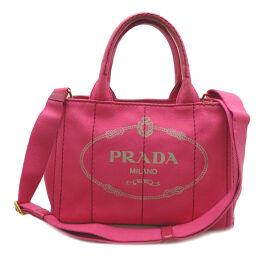 PRADA プラダ B2439G CANAPA カナパトート ミニ キャンバス レディース ハンドバッグ DH58413【中古】