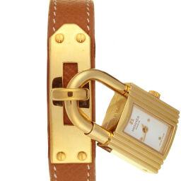 HERMES エルメス KE1.210 ケリー ウォッチ GP×レザー レディース 腕時計 DH58540【中古】