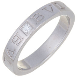 BVLGARI ブルガリ ダブル ロゴ 1P ダイヤモンド  750ホワイトゴールド 16.5号 レディース・メンズ リング・指輪 DH59508【中古】Aランク