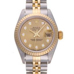 ROLEX ロレックス 69173G デイトジャスト 10P ダイヤモンド W番 1994年製 ステンレススチール×K18イエローゴールド レディース 腕時計 DH60222【中古】Aランク