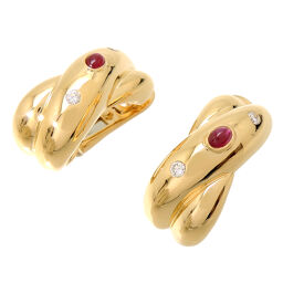 CARTIER Cartier 750YG Ruby Diamond 750 Yellow Gold Women's Earrings DH60298 [Used] A rank