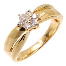 Non Brand Non Brand K18YG Flower Motif Diamond 0.18ct K18 Yellow Gold No. 16 Ladies Ring / Ring DH60345 [Used] A rank