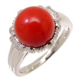 Non Brand Non Brand Pt900 Coral Diamond 0.03ct Pt900 Platinum No. 12 Ladies Ring / Ring DH60353 [Used] A rank
