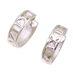 Non Brand Non Brand K18WG Hoop K18 White Gold Ladies Earrings DH60354 [Used] A rank