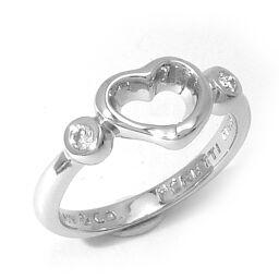 TIFFANY&Co. ティファニー オープンハート 2Pダイヤモンド Pt950プラチナ 7号 レディース リング・指輪 DH60406【中古】Aランク