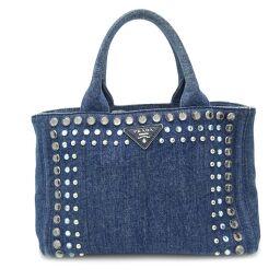 PRADA Prada B24390 Kanapat Tote Bijou * No strap Denim Ladies Tote Bag DH60458 [Used] AB rank