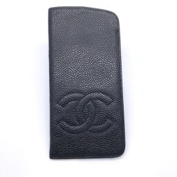 CHANEL Coco Mark Glasses Case Caviar Skin Women's Men's Glasses Case DH61095 [Used] AB Rank
