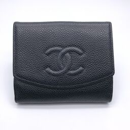 CHANEL W Hook Wallet x Caviar Skin Ladies Bi-Fold Wallet DH61096 [Used] AB Rank