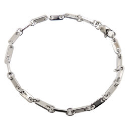 CARTIER Cartier 750WG Figaro 750 White Gold Women's Men's Bracelet DH61177 [Used] A rank