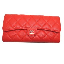 CHANEL A80758 Matrasse Bi-Fold Wallet Caviar Skin Women's Wallet DH61215 [Used] AB Rank