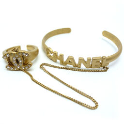 CHANEL GP Coco Mark Bangle Ring Set x GP / Rhinestone No. 11 Ladies Ring / Ring DH61230 [Used] AB Rank